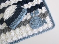 Chunky Nautical/ Preppy Baby Blanket and Hat Set