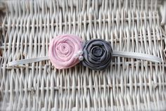 Handmade Double Pink and Gray Fabric Flower with by MadiMosBows, $7.50