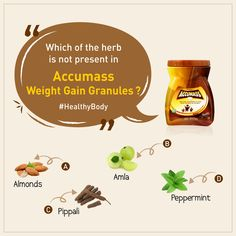 is the blend of 18 herbs which work well to help in weight gain. 👉 Now we have a question for you. ➡️ Guess which of the herb is not in Accumass. ⤵️ Comment your answer. Best Mass Gainer, Best Weight Gainer, Weight Gain Workout, Weight Gain Supplements, Mass Building, Vegan Nutrition, Perfect Body, Peppermint, Herbalism