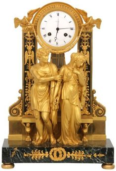 French Dore Bronze Figural Mantle Clock