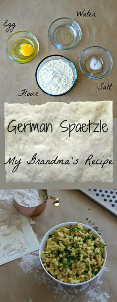 Sharing my grandma's german spaetzle recipe with a healthier twist but same great flavor. A light egg noodle with fresh herbs and lemon. / The Domestic Dietitian Spetzel Recipe, Austrian Recipes, German Recipes, Austrian Food, Ukrainian Recipes, German Appetizers, German Spaetzle, Pasta Recipes, Cooking Recipes