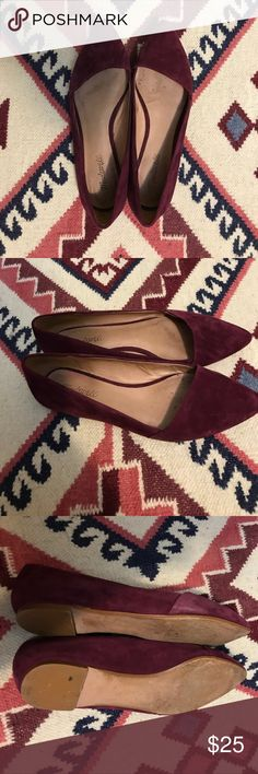 Madewell Mira flat in burgundy sz 10 Super cute flats (that are surprisingly comfortable) worn 4x for interview but barely any sole wear (see pictures) Madewell Shoes Flats & Loafers