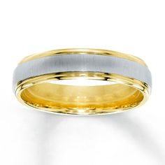 Mens Wedding Band 14K Two-Tone Gold