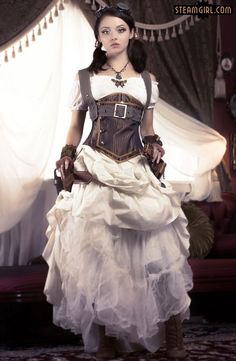 Feminine, Girly Steam Style (white dress, brown underbust corset, harness, boots, gloves, belt and goggles) - For costume tutorials, clothing guide, fashion inspiration photo gallery, calendar of Steampunk events, & more, visit SteampunkFashionGuide.com