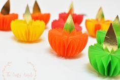 diwali craft, diwali decor, diwali akash kandil. diwali ideas, diwali diya, diwali lights, paper diya, diya making, diwali kids craft