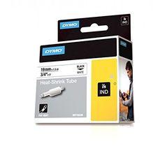 Dymo 18057 RhinoPRO Industrial Heat-Shrink Label Tubes, Self-Adhesive - 19 mm x 1.5 m, Black Print on White