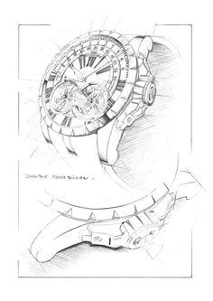 Design sketch for the Excalibur Double Tourbillon.