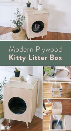 DIY Modern Plywood Kitty Litter Box Cat toilet in Scandinavian style! Do not just try to hide your cat's cat litter box, but make it a part of your decor with this simple DIY. Hiding Cat Litter Box, Hidden Litter Boxes, Diy Litter Box Cover, Kitty Litter Boxes, Cat Litter Tray, Litter Box Enclosure, Dog Kennel Cover, Diy Dog Kennel, Cat Toilet