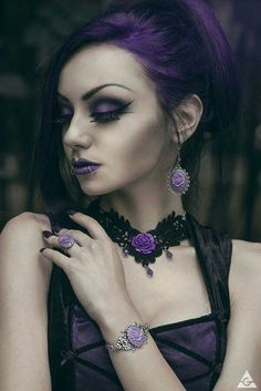 Lavender Gothic Victorian earrings - with purple rose cameo and silver tone…