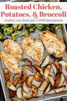 This easy sheet pan recipe is a whole meal cooked on one single pan. Roasted chicken, crispy potatoes, and tender broccoli cooked with butter, garlic, and Italian seasoning.  #dinner #kidfriendly #quickandeasy Broccoli And Potatoes, Roasted Chicken And Potatoes, Baked Chicken, Crispy Potatoes, Broccoli Chicken, Roast Chicken, Broccoli Recipes, Chicken Recipes, Chicken Meals