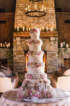 A Beautiful Towering Wedding Cake | Brides.com