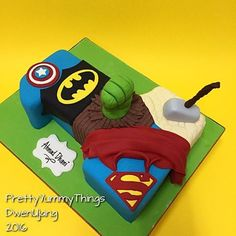 Superhero cake shaped in a number ONE