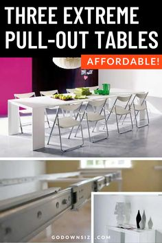 Transforming furniture is such a helpful thing to have in a small living space. In a tiny home or small apartment it can make all the difference. Check out these great pull-out dining tables that are nice and affordable! Small Space Living, Tiny Living, Home And Living, Small Spaces, Living Spaces, Small Console Tables, Dining Tables, Storage Hacks, Storage Solutions
