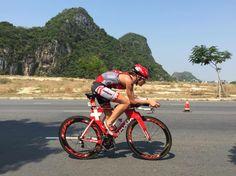 Caroline Steffen on her way to winning Ironman 70.3 Vietnam with Lazer Z1 and Aeroshell! #ironman