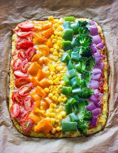 Rainbow cauliflower crust pizza recipe by Tazz Pizza Recipes, Vegetarian Recipes, Cooking Recipes, Healthy Recipes, Rainbow Pizza, Rainbow Food, Healthy Baking, Healthy Snacks, Cauliflower Crust Pizza