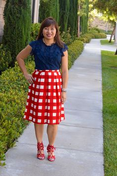 The Limited Plated Gingham Midi Skirt, WHBM lace Suede Heels, Fashion Over 40, ruffle, gingham, office wear