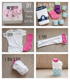 I really love gifts that are packaged nicely and put together in a cute way. So, naturally, I fell in love with the cupcake onesie idea on. Regalo Baby Shower, Baby Shower Baskets, Cute Baby Shower Gifts, Baby Boy Shower, Baby Showers, Onesie Cupcakes, Homemade Gift Baskets, Baby Gifts To Make, Baby Cupcake
