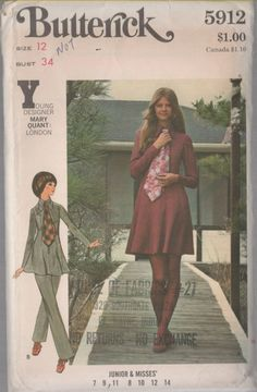 1970s Mini Dress Butterick 5912 Young Designer Mary by sandritocat