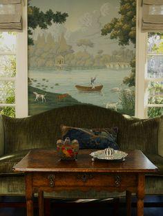Antique tea table  camelback against muraled wall - Larry Hooke
