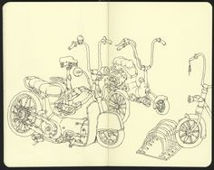 An experiment in line, drawing bicycles on the train | por Mattias Adolfsson