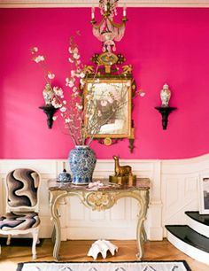 "Nothing says ""Welcome to my house!"" quite like a bright pink entryway."