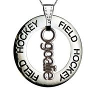 Field Hockey Message Ring Goalie Necklace