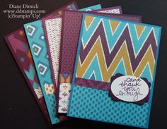 2015  VIDEO  Using this fun and easy cutting technique it only took be a couple of hours to make 75 cards. You could change the sentiment and have cards for all kinds of occasions.    Stampin' Up! Bohemian Designer Series paper