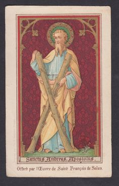 Saint Andrew the Apostle antque  holy card  Bruges edit
