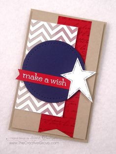 Clean and Simple card for the 4th of July.  Close ups and details on the blog.