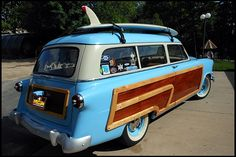 1953 Ford Woody Station Wagon. Let's go surfin'~was our family station wagon in the 50's only ours was white with the wood~ Oh why didn't we keep it?!?!