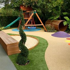 Varied and attractive childrens' play area garden design.