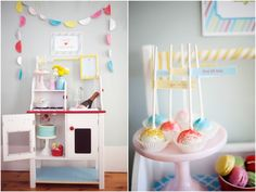 """Fun Baby #Sprinkle Theme from thetomkatstudio.com: """"Bun in the Oven"""" complete with cake pops + other yummy desserts"""