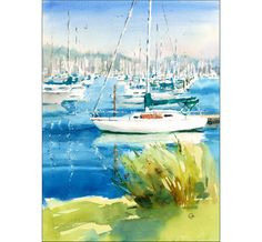 White Boats in a Dock Original Watercolor by CMwatercolors