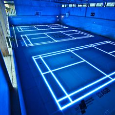 ASB have produced the ASB GlassFloor a glass surface that utilizes programmable lighting to create lines for indoor sports such basketball, indoor soccer, indoor hockey or volleyball.