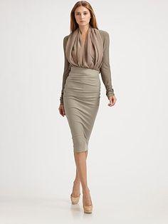 Donna Karan  Jersey Scarf Bodysuit with Skirt