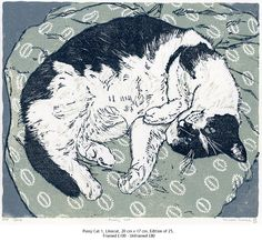 Pussycat 1, linocut print by Vanessa Lubach. Edition of 25