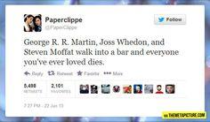 Three writers walk into a bar...