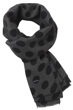 Charcoal grey scarf with black polka dots Grey Scarf, Silk Wool, Danish Design, Charcoal, Scarves, Polka Dots, Classic, Shopping, Black
