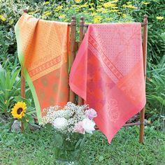Tea Towels  ~  Torchon collection printemps été 2016 par Garnier-Thiebaut - Modèle : Rose - Torchon 100% coton - Coloris : rose et rouge