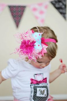 Over The Top Cotton Candy Hair Bow  Pink Curly Ostrich by miminco, $16.99