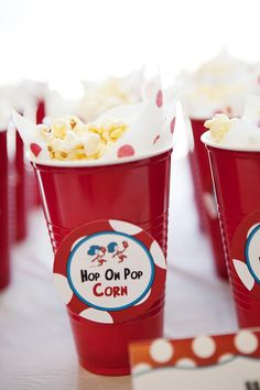 POPCORN These little cups are a great idea for a children's party. They are portable so kids can take them with them as they're running around and having fun. Rather than having to sit still and eat, which isn't how kids work.
