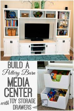 Build a media center with toy storage drawers   Her Tool Belt on Remodelaholic.com
