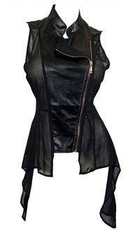 Plus Size Sleeveless Sheer and Faux Leather Panel Jacket Black