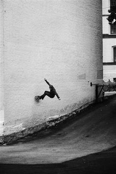 Making it look easy! Skater wall-riding in black and white