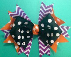 Halloween Hair Bow Fall Hair Bow Chevron /Hair Bow by BrinleysBowtique32