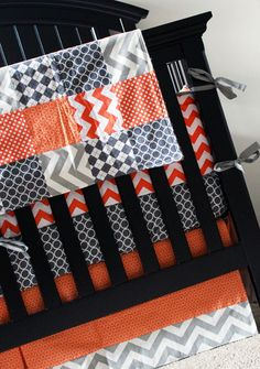 Custom Crib bedding - Orange and Grey-cute for boy... I think I might be able to make an exception for this chevron idk why but I like it for a boy.