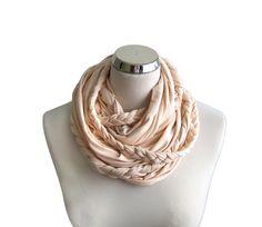 Braided Infinity Scarf, Ivory infinity scarf, Cream Jersey circle scarf
