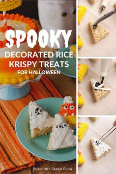 Make this Halloween memorable with these cute and easy Halloween Rice Krispie Treats! Take your rice krispie treats to the next level and create a new Halloween tradition at the same time. These Halloween treats make great Halloween party foods as well. Halloween desserts have never tasted so sweet! #thebearfootbaker #halloween #halloweenfood #halloweenpartyfood