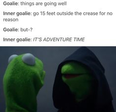 I swear this is why I yell at the goalie so much while watching a hockey game. Blackhawks Hockey, Hockey Goalie, Field Hockey, Ice Hockey, Chicago Blackhawks, Hockey Players, Soccer, Hockey Memes, Funny Hockey