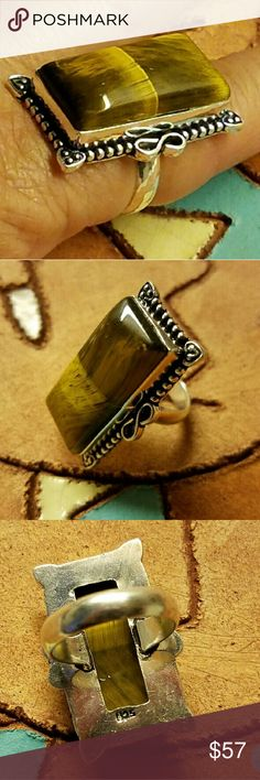 """YELLOW TIGER EYE RING """"STUNNING"""" 1.1"""" Natural Yellow Tiger Eye Ring (Size 7.5) Stamp 925 Sterling Silver Jewelry Rings"""